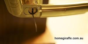 gold handle on door