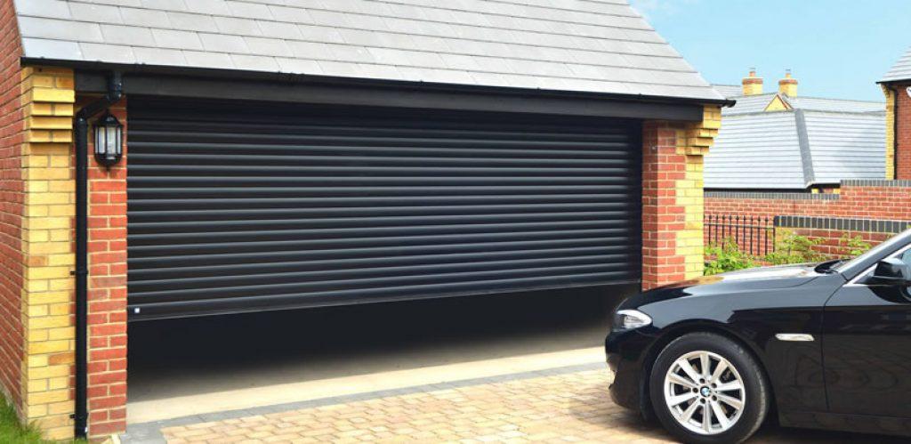 black roller door for modern home